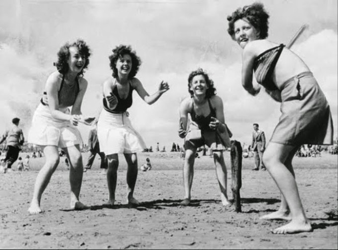 Beach cricket at Skegness in Lincolnshire, August 1940