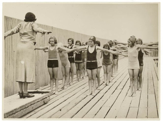02 [Swimming class for girls], c. 1930s, by Sam Hood