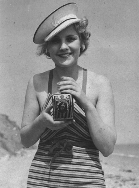 1930's stripe knit swimsuit and nautical cap